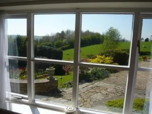 Garden apartment bedroom window view